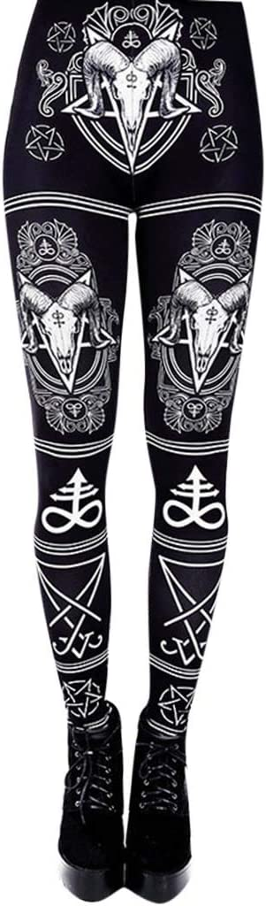 Womens Yoga Pants High Waist Workout Pan Max 66% OFF Gothic Printing Outlet ☆ Free Shipping Stretch