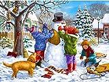 ATggqr Rompecabezas de 1000 Piezas para Adultos, niños, 50x75 cm, Paisaje de Invierno de Navidad, Paisaje de muñeco de Nieve, Juegos de Rompecabezas Diarios para Adultos y niños