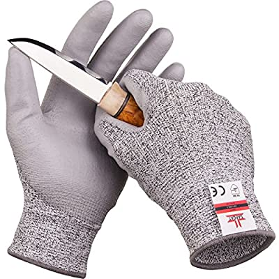 SAFEAT Safety Grip Work Gloves for Men and Women – Protective, Flexible, Cut Resistant, Comfortable PU Coated Palm. Complimentary Ebook Included. Size Large by SAFEAT