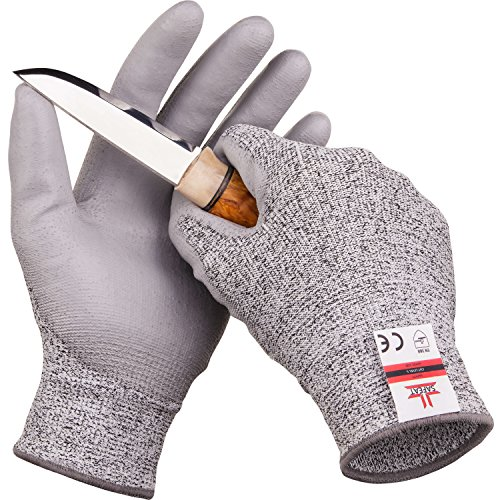 SAFEAT Safety Grip Work Gloves for Men and Women – Protective, Flexible, Cut Resistant, Comfortable PU Coated Palm. Free eBook Gift Included! Size Small