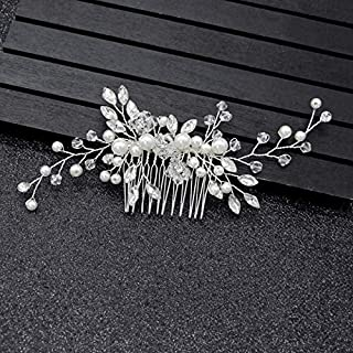 Bridal Hair Side Comb Silver For Women Wedding Girls Hair Clip Leaves Pearl Rhinestone Crystal Spray Flower Hair Accessories Floral Vintage Hair Barrette Bridesmaids Headpiece White With Gift Box Set