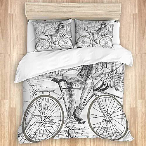 Funda nórdica, Bicicleta, Sexy, indignante, jovencita, Chicle en su Bicicleta en la Calle Sketchy, Juego de Ropa de Cama con 1 Funda y 2 Fundas de Almohada Estilo
