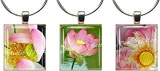 LOTUS FLOWERS ~ Scrabble Tile Wine Glass Charms Set of 3 ~ Stemware Charms/Markers/Pendants