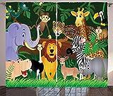 Cortinas Opacas con Ojales con Aislamiento térmico, Cortinas Opacas Impresas en 3D para Sala de Estar Cortinas de zoológico Expresiones Divertidas de Animales en la Jungla vítores cómicos.