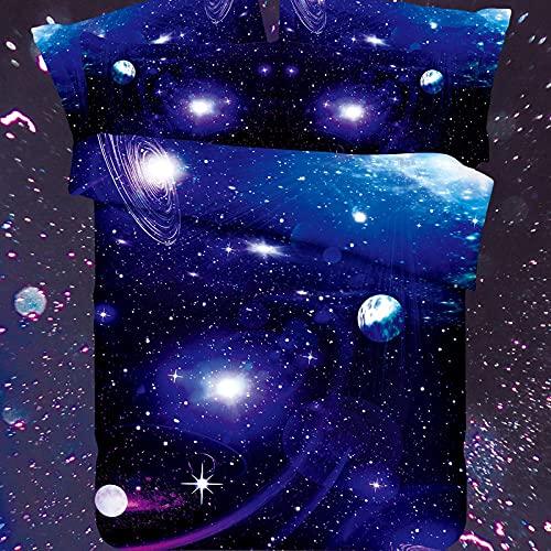 Juego de Funda Nórdica Cama 180 - 260x220 cm Cielo Estrellado Azul Fundas para Edredón para Ropa de Cama de Matrimonio con 2 Fundas de Almohada 50x75 cm para Infantil Adultos