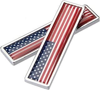 DSYCAR 1Pair 3D US Flag Sticker Car Emblem Decal Aluminum Alloy Sticker for Truck, Car, Motorcycle Stying