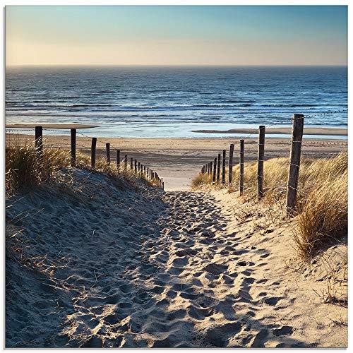 Artland Glasbilder Wandbild Glas Bild einteilig 30x30 cm Quadratisch Strand Meer Küste Nordsee Natur Landschaft Sommer Dünen Sand Gräser T9IP