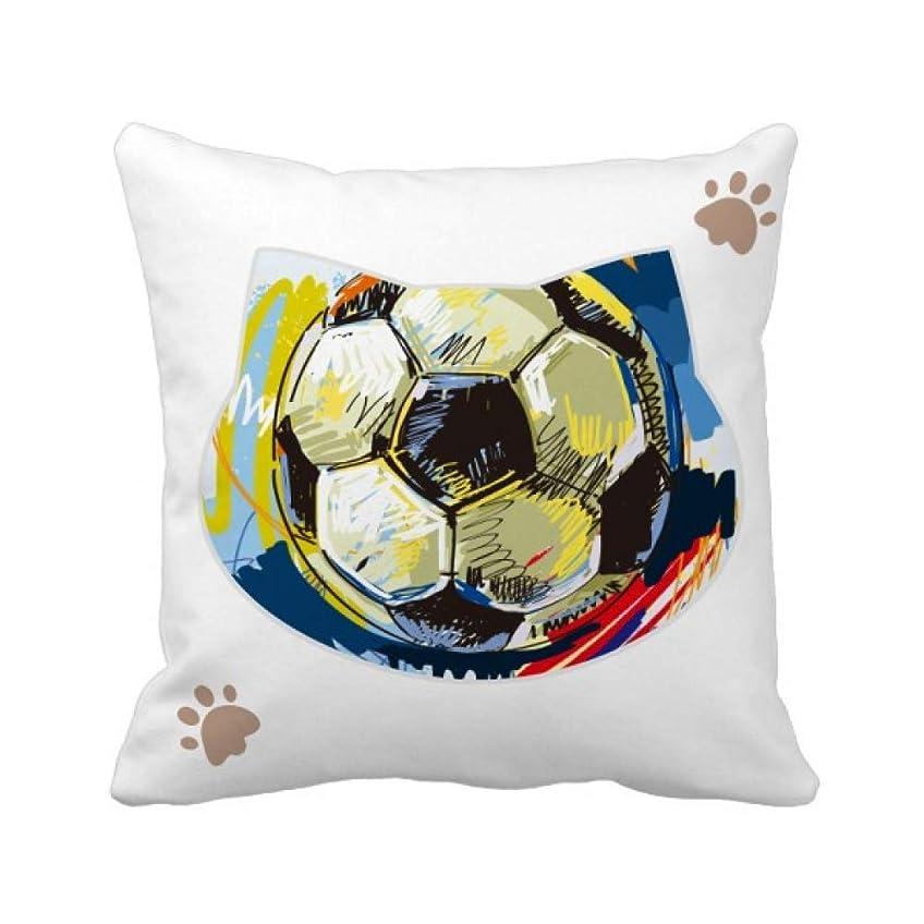 不均一引き潮男やもめサッカーのスポーツを描いた 枕カバーを放り投げる猫広場 50cm x 50cm