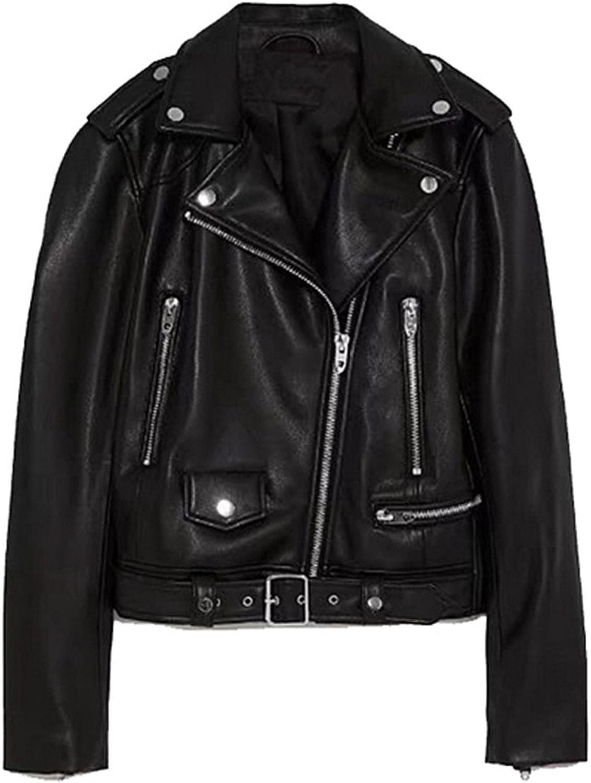 Cocainat Women PU Faux Leather Jackets Black Zippers Moto Biker Style Zippers Women's Coats