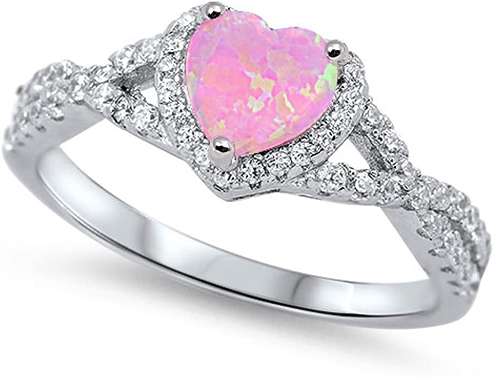 discount CHOOSE YOUR COLOR Some reservation Sterling Silver Ring Halo Heart Promise