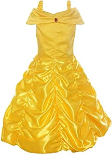JUMERY-HC Little Girls Layered Princess Belle Inetersting Costume Dress Up, Yellow, Beauty and The Beast Size S-XXL (Size : XL(130-140cm))