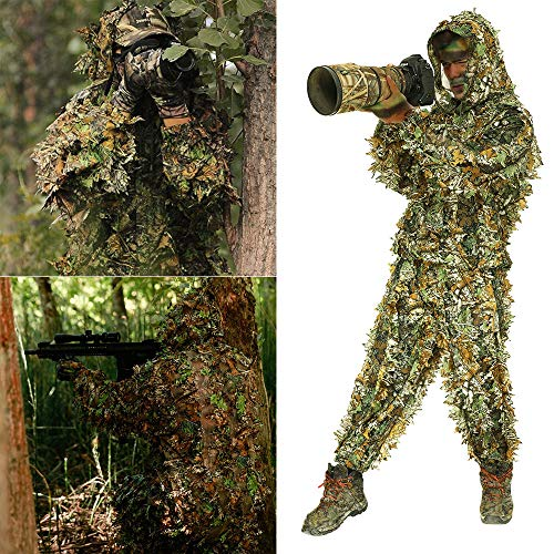 ANDYKE Ghillie 3D Hunting Suit Bionic Green Leaf Woodland Camouflagesuit, Lightweight Breathable Training Uniform Sniper Hunting Shoot in Jungle Grass, Suit for Airsoft Wildlife Photography Hallowee