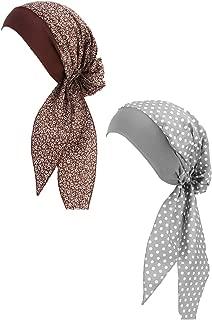 Babyku 2 Pack Women Vintage Elastic Wide Band Chemo Cancer HatCapHead Scarf Night Sleep Turban Head Wraps