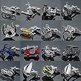 TZZD Fábrica de Motocicletas de Venta Directa Bicicletas de Carreras Coches Gemelos de Modelado Camisas de los Hombres franceses Gemelos al por Mayor (Metal Color : 16)