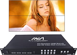 AVISHOP 4x4 HDMI Matrix SwitchProAV Series Seamless HDMI Matrix Selector Switcher with Four Picture Multi View 2x2 Video Wall Controller