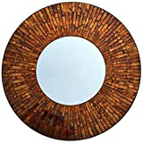 Lulu Decor, Baltic Amber Round Mosaic Wall Mirror, Decorative Handmade Round Mirror, Diameter 23.5', Mirror 11.5' Perfect for Housewarming Gift. (LP308)