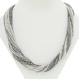 GlassOfVenice Murano Glass Gloriosa 24 Strand Seed Bead Necklace - Silver Grey
