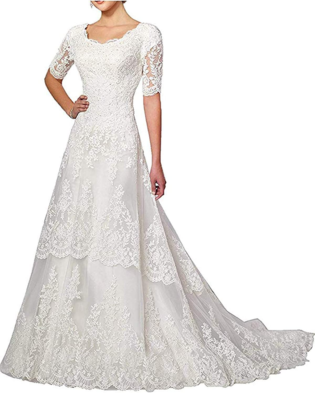 Women's Lace Wedding Dresses for Bride with Sleeves 2019 Beaded Appliques Wedding Gown Bridal Dresses with Train