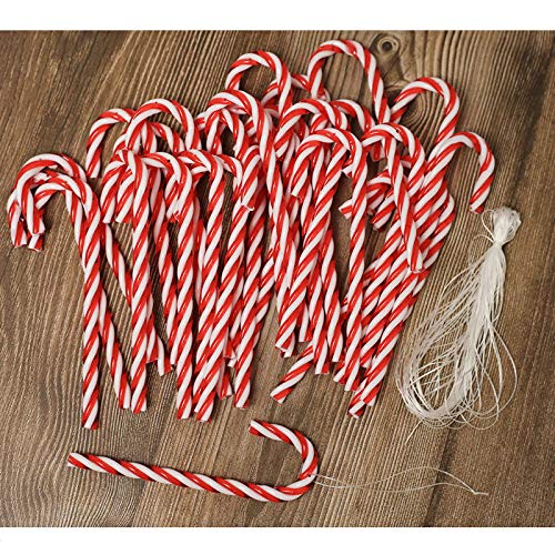 ToBeIT 32pcs Candy Canes Plastic Christmas Tree Hanging Ornaments (red(15cm))