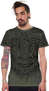 Mens Tribal T-Shirt God Hieroglyphics Graphic Print Alternative Top Sand Brown