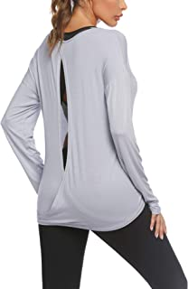 Zeagoo Women's Long Sleeve Knit Shirt Backless Casual Tops Draped Blouse Plus Size