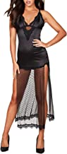 Frederick's Of Hollywood Women's Lace & Satin Gown Slip Dress - Ladies Sexy Short Nightgown