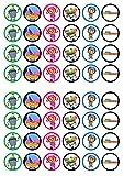 48equipo Umizoomi comestible Premium de grosor edulcorados vainilla, oblea Rice Paper Cupcake Toppers/adornos