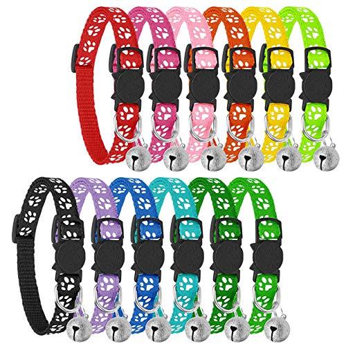 Reflektierende Katzenhalsbänder mit Glöckchen, sicheres Schnellentriegelungs-Katzenhalsband, verstellbar, passend für alle Hauskatzen (12 Stück)…