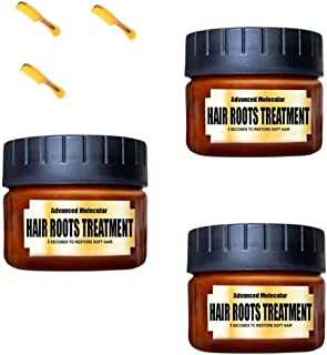 Hair Detoxifying Nourishing Mask Advanced Molecular Hair Roots Treatment Split-Ends Deep Elasticity Softness Recover Dry Curly Oily Damaged Hair Conditioner 5 Seconds Restore (3pcs 60ml+ 3pcs Brush)