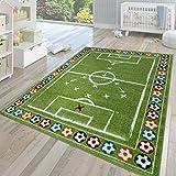 TT Home Alfombra Infantil Pelo Corto Moderna Multicolor Motivo Verde Campo De Fútbol, Größe:160x220 cm