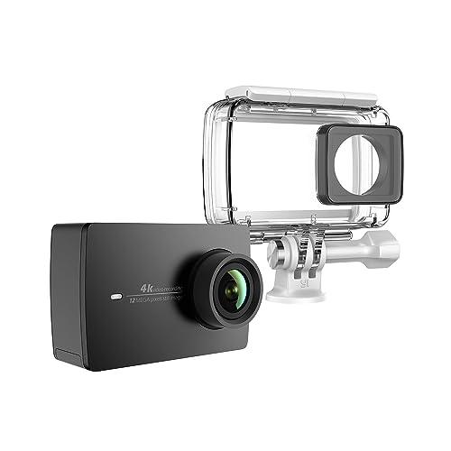 """YI 4K Caméra d'action avec Boîtier étanche 4K/30fps Action Cam - Commande Vocale - Ecran Tactile LCD 2.2"""" Wifi App pour iOS/Android - Stabilisation d'Image Electronique EIS - Noir"""