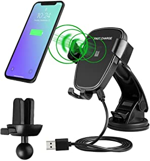 Wireless Car Charger, IKYE 10W Auto-Clamp Car Mount Fast Charging Windshield Dashboard Air Vent Phone Holder Compatible with Samsung S9 S8, Note 9, Phone X/Xs/8 Plus