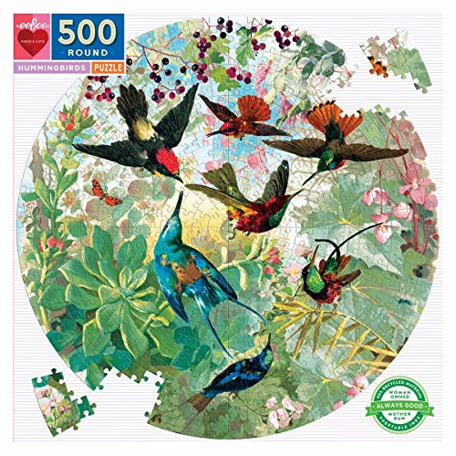 eeBoo Hummingbirds Round Jigsaw Puzzle for Adults, 500 Pieces