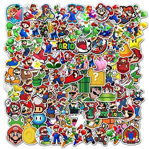 BLOUR 100pcs Zeichentrickfigur Super Mario Aufkleber DIY Dekoration Laptop Gepäck Helm Wasserbecher Kühlschrank Gitarre Skateboard