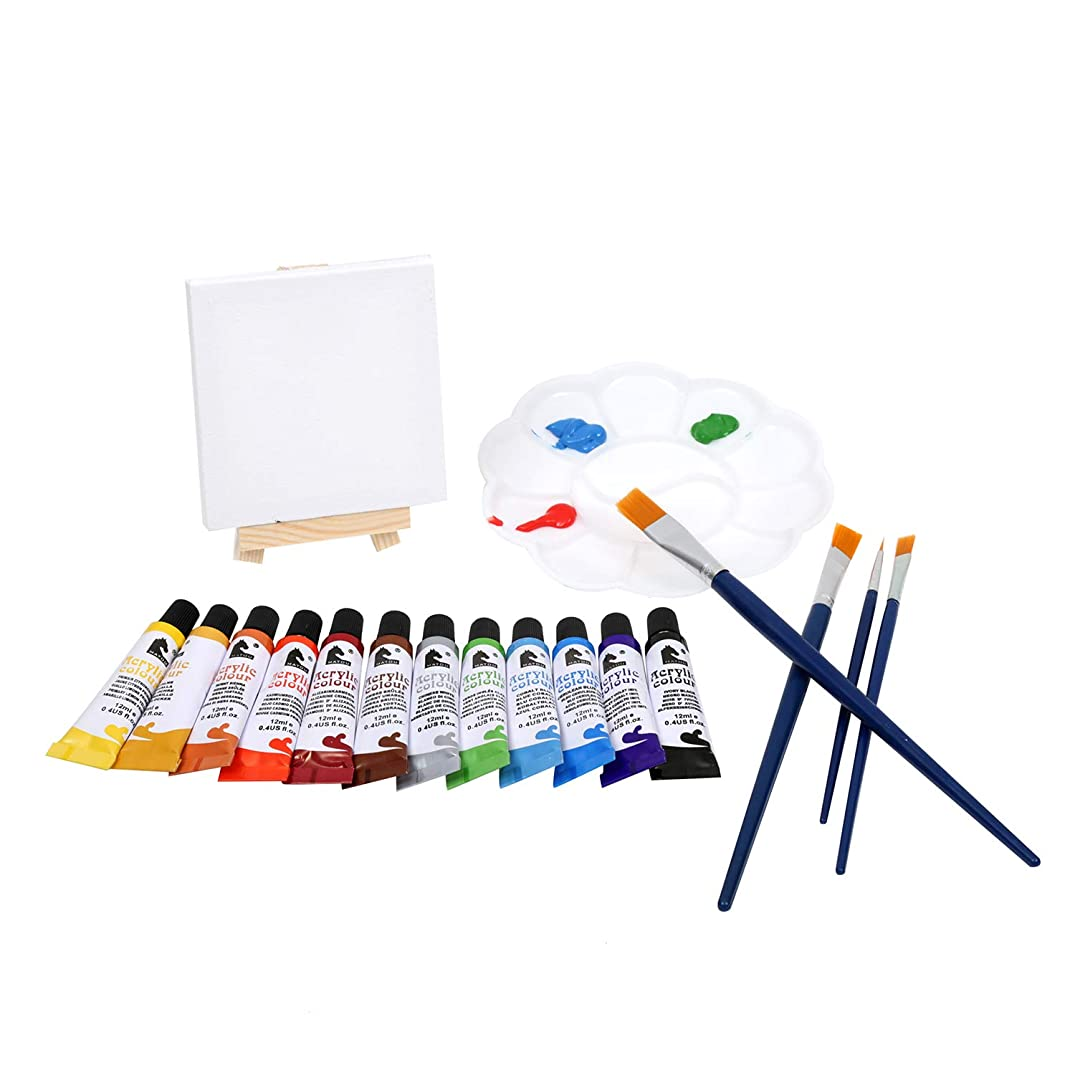 MEEDEN Acrylic Paint Set - Includes 12 Small Stretched Canvas with Tiny Wood Easel, 12 Vibrant Acrylic Paint Tubes, 4 Paintbrushes and a Plastic Palette– Perfect Gift for Students Beginners Kids
