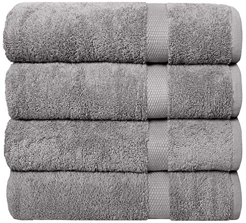 """Pleasant Home Bath Towels Set  4 Pack – 27""""x54""""  100% Cotton  580 GSM – Lightweight Soft amp Absorbent – Durable Grey"""