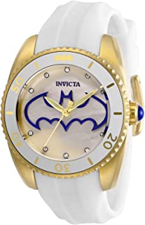 Women's DC Comics Stainless Steel Quartz Watch with Silicone Strap, White, 18 (Model: 29300)