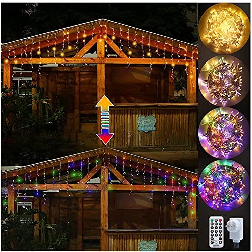Ollny Lichtkette 306 LEDs Lichtvorhang Eiszapfen Außen, Warmweiß und Bunt Eisregen Lichterketten mit 11 Modi Fernbedienung und EU Stecker für...