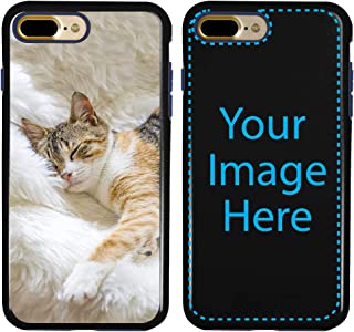 Custom Cat Cases for iPhone 7 Plus / 8 Plus by Guard Dog - Personalized - Put Your Kitty on a Rugged Hybrid Phone Case. Includes Guard Glass Screen Protector. (Black, Dark Blue)