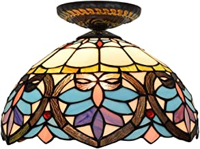 Tiffany Ceiling Fixture Lamp Semi Flush Mount 12 Inch Stained Glass Lampshade for Dinner Room Living Room Bedroom Library ...