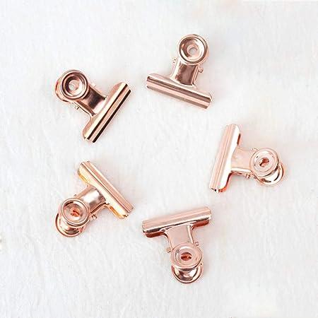 Pequeño Bulldog papel clips, Coideal 30 Pack 1 pulgadas encuadernador de metal clips de papel de dinero pinzas para etiquetas bolsas, tiendas, oficina y cocina casera (oro rosa, 22mm)