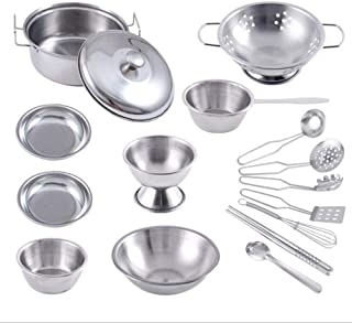 Pretend Play Kitchen Tableware Toy Stainless Steel Kitchen Toys Utensils House Cooking Pots Pans Toy Cookware Kits for Kids Come Role Play Educational Toys for Toddlers Small Size(16pcs)