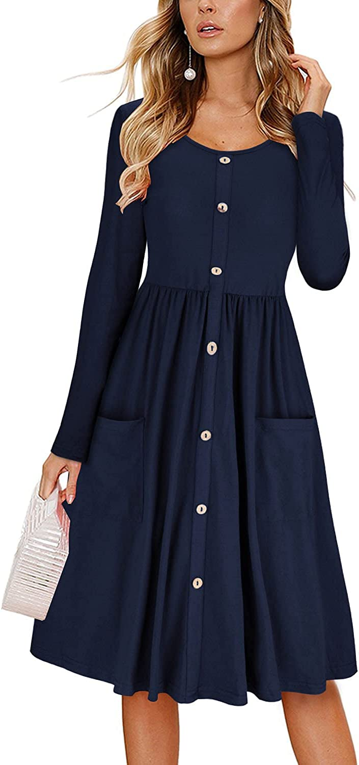 KILIG Women's Long Sleeve Button Down Casual Midi Dress with Pockets
