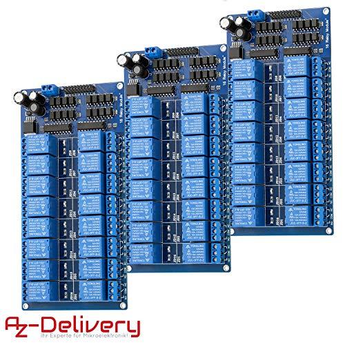 AZDelivery 3 x Rele Modulo de 16 Canales 5V con optoacoplador Low-Level-Trigger compatible con Arduino con E-Book incluido!