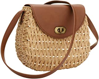 Womens PU Straw Crossbody Bag, Hand Woven Summer Beach Bag Straw Handbag Top Handle Tote Purse Shoulder Bag