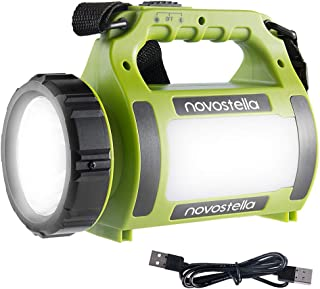 Novostella Rechargeable CREE LED Spotlight, Multi Function Outdoor Camping Lantern Flashlight, Power Bank, Waterproof LED Searchlight with USB Cable, for Hiking Fishing Emergency