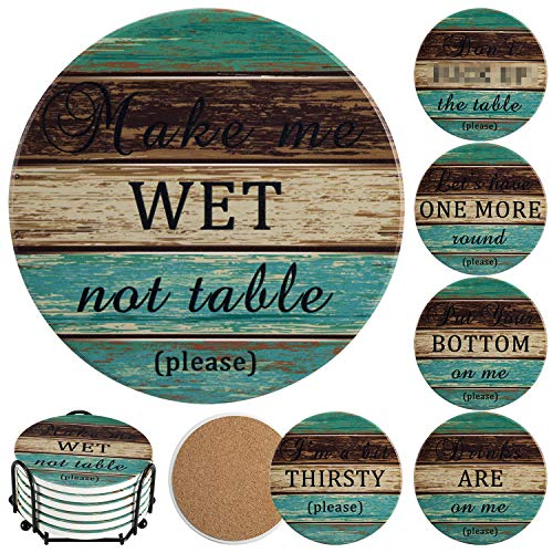 Stone Coasters for Drinks Absorbent, Esur Funny Ceramic Coaster Set of 6 with Metal Holder Rustic...