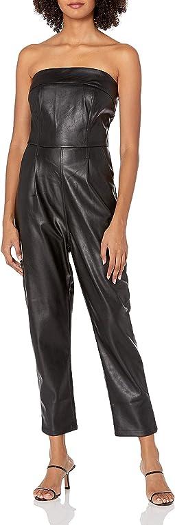 Vegan Leather Strapless Jumpsuit