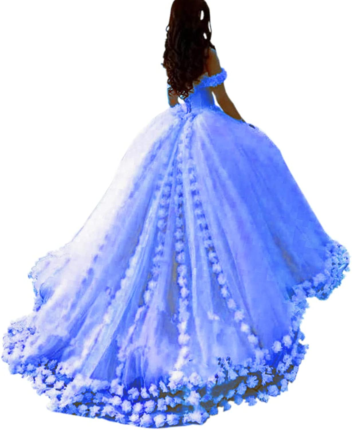 Mauwey Women's 2019 New Fluffy Tulle Ball Gown Quinceanera Dresses Evening Prom Dresses Formal Party Gown with Flowers