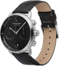 Nordgreen Pioneer Men's Chronograph Watch Silver 42mm Watch with Black Dial and Interchangeable Straps